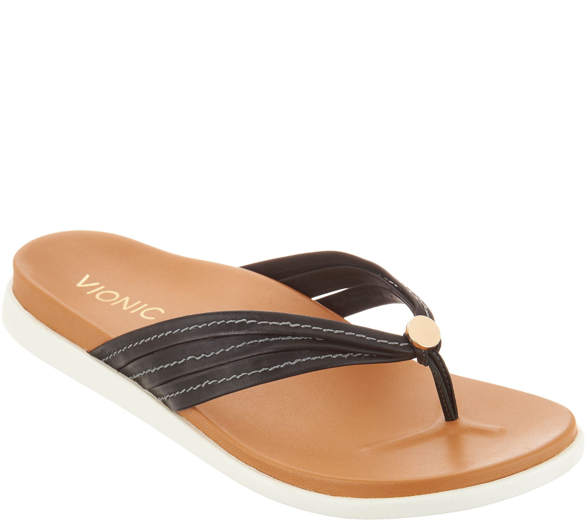 cf63e30bf62a Vionic Leather Triple-Strap Thong Sandals - Catalina - Page 1 — QVC.com