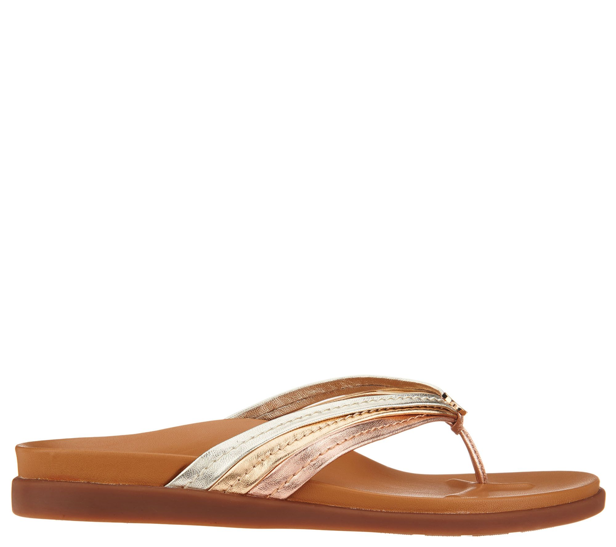 926bc0e83eafc Vionic Leather Triple-Strap Thong Sandals - Catalina - Page 1 — QVC.com