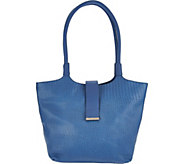 As Is H by Halston Reptile Embossed Matte Leather Tote Handbag - A306690