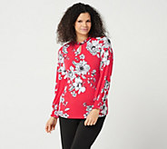 Susan Graver Printed Liquid Knit Top with Smocked Cuffs - A347090