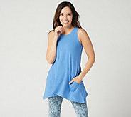 LOGO Lounge by Lori Goldstein Jersey Knit Tank with Pockets - A347190