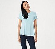 H by Halston Essentials Crew-Neck Top with Shirttail Hem - A353390