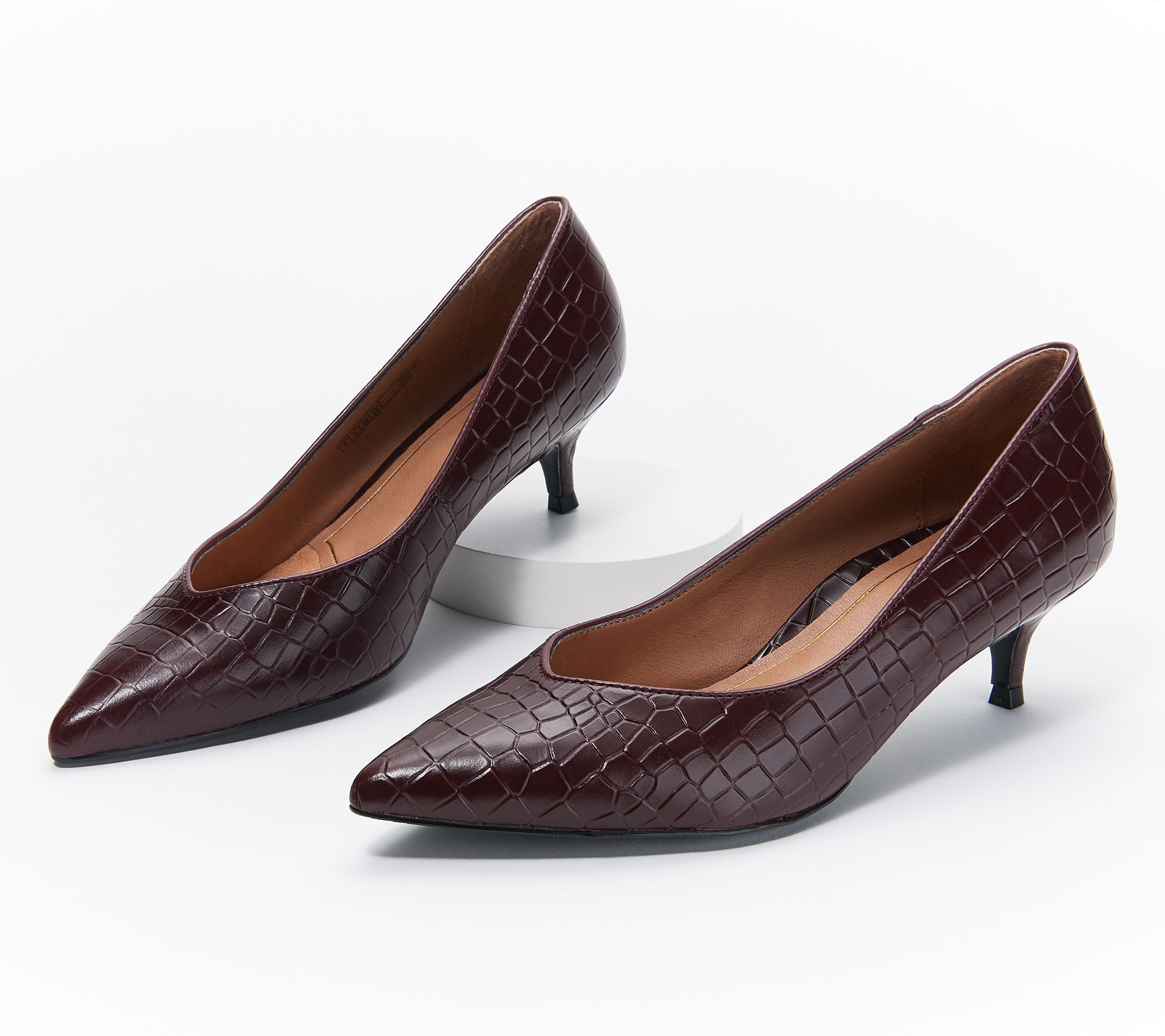 low priced on wholesale buying cheap Vionic Leather Kitten Heel Pumps - Josie Croc - Page 1 — QVC.com