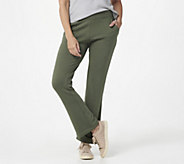 Denim & Co. Active Petite Lush Lined Jersey Lightly Bootcut Pants - A389490