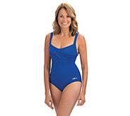 Dolfin Aquashape Drape Front 1-Piece Swimsuit - A423890