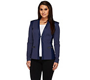 G.I.L.I. Twill and Faux Leather Blazer with Zip Pockets - A263391