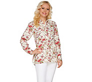 C. Wonder Classic Floral Print Button Front Carrie Blouse - A275091