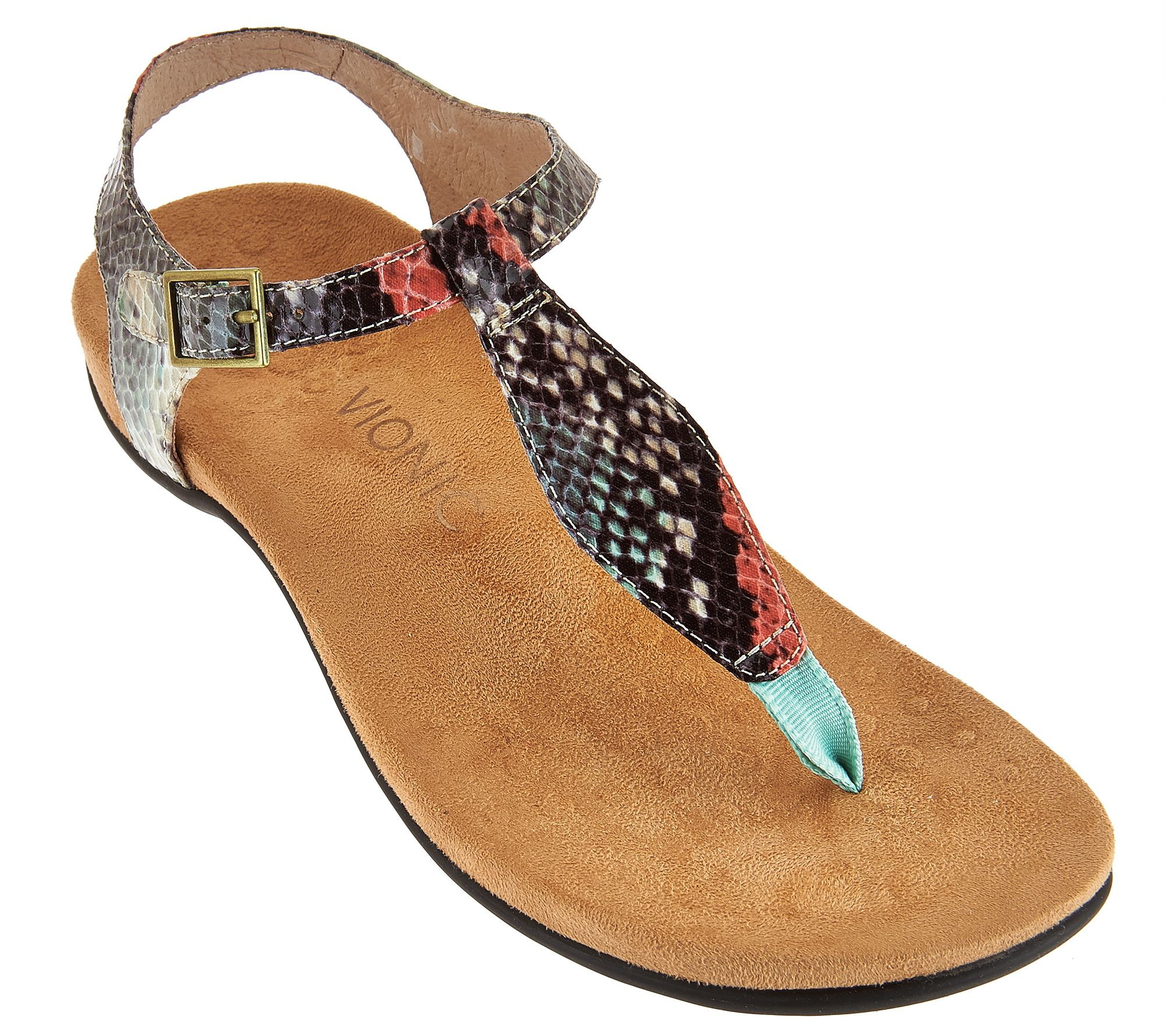 abe6a49e143b73 Vionic Orthotic T-strap Sandals w  Adj. Ankle Straps - Paden - Page 1 — QVC .com