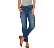 Studio by Denim & Co. Classic Denim Distressed Ankle Jeans - A279891