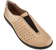 Clarks Perforated Nubuck Leather Slip-On Shoes - Medora Gemma - A282691