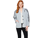 Bob Mackies Embroidered Dolman Sleeve Fleece Jacket - A286891