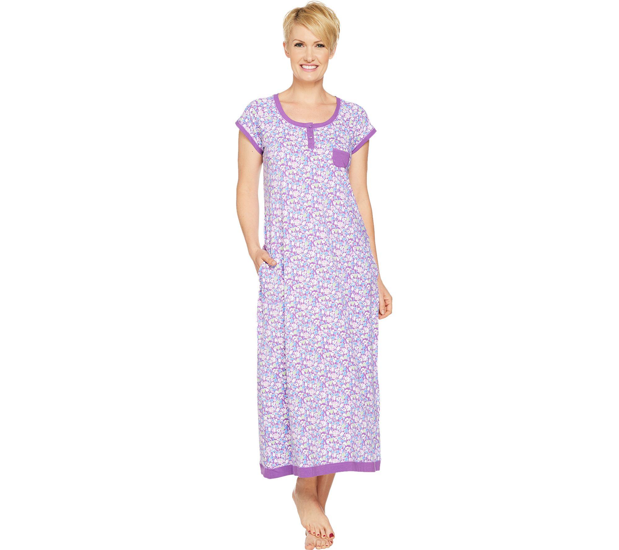 Carole Hochman Ditsy Field Cotton Knit Long Gown - Page 1 — QVC.com