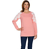 Quacker Factory Flower Lace Raglan French Terry Top - A288091