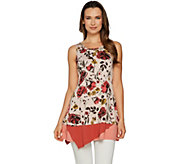 LOGO by Lori Goldstein Printed Knit Tank with Color-Block Hem - A290491