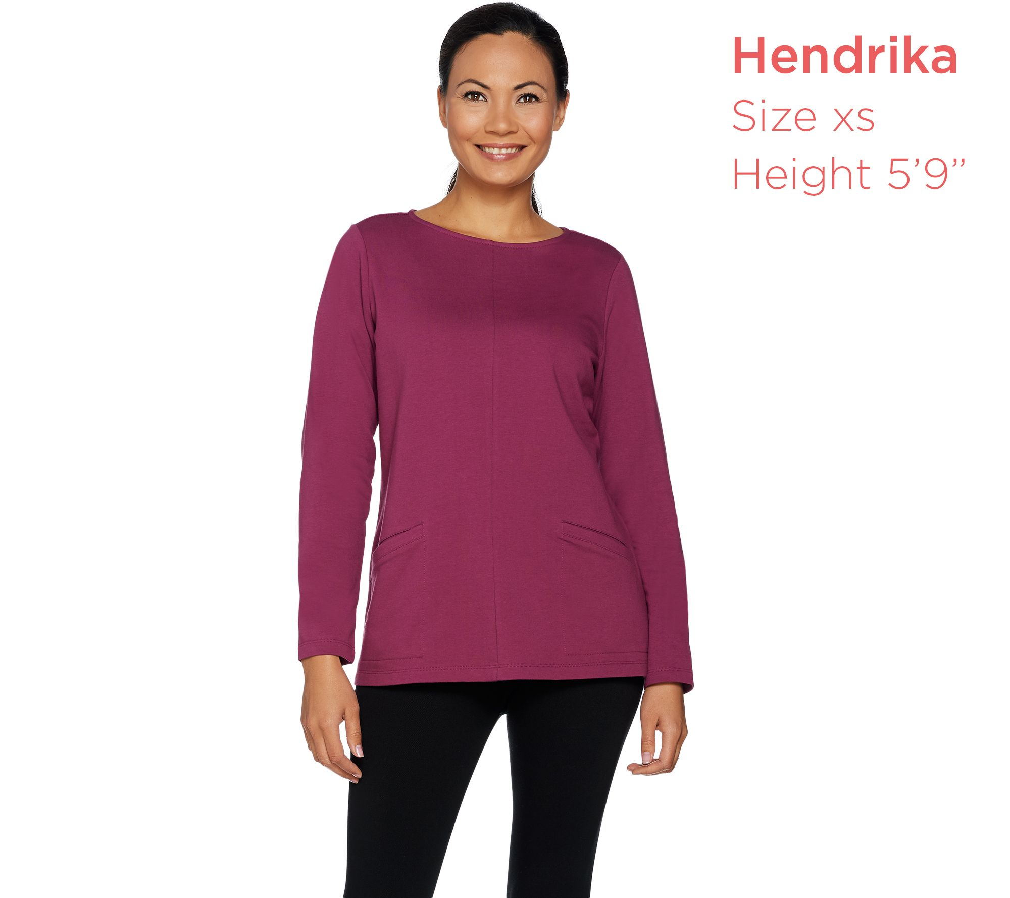 3f680862208 Denim   Co. Active French Terry Long Sleeve Top with Pockets - Page 1 — QVC .com