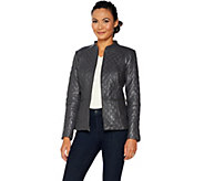 Isaac Mizrahi Live! Leather Mixed Quilting Zip Front Jacket - A296891
