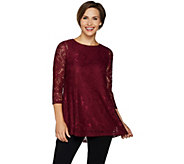 Joan Rivers Lace Tunic with 3/4 Sleeves - A297991
