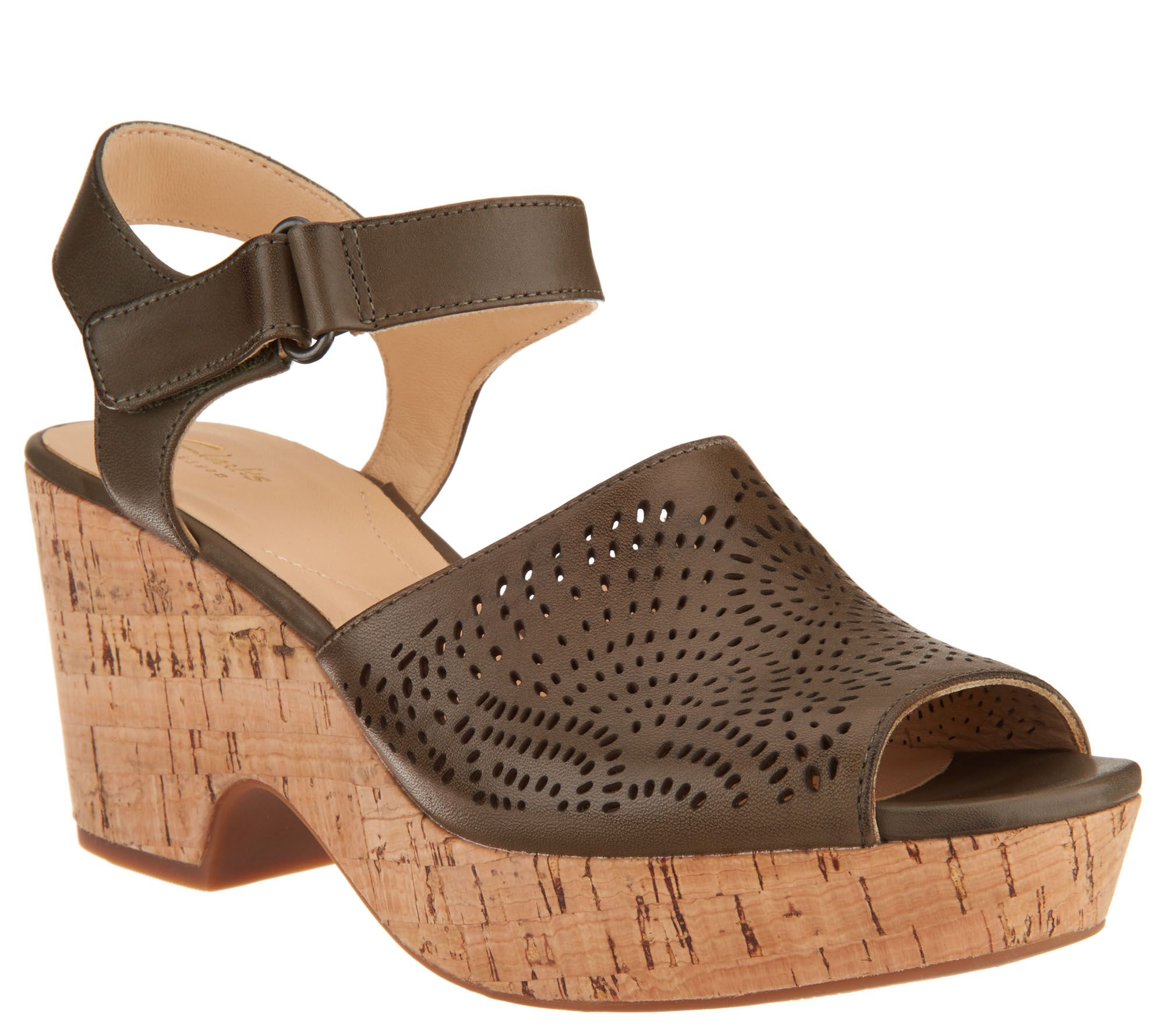5634b64a9e12 Clarks Artisan Perforated Leather Wedge Sandals - Maritsa Nila - Page 1 —  QVC.com