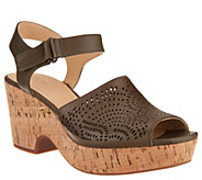 Clarks Artisan Perforated Leather Wedge Sandals - Maritsa Nila - A304291