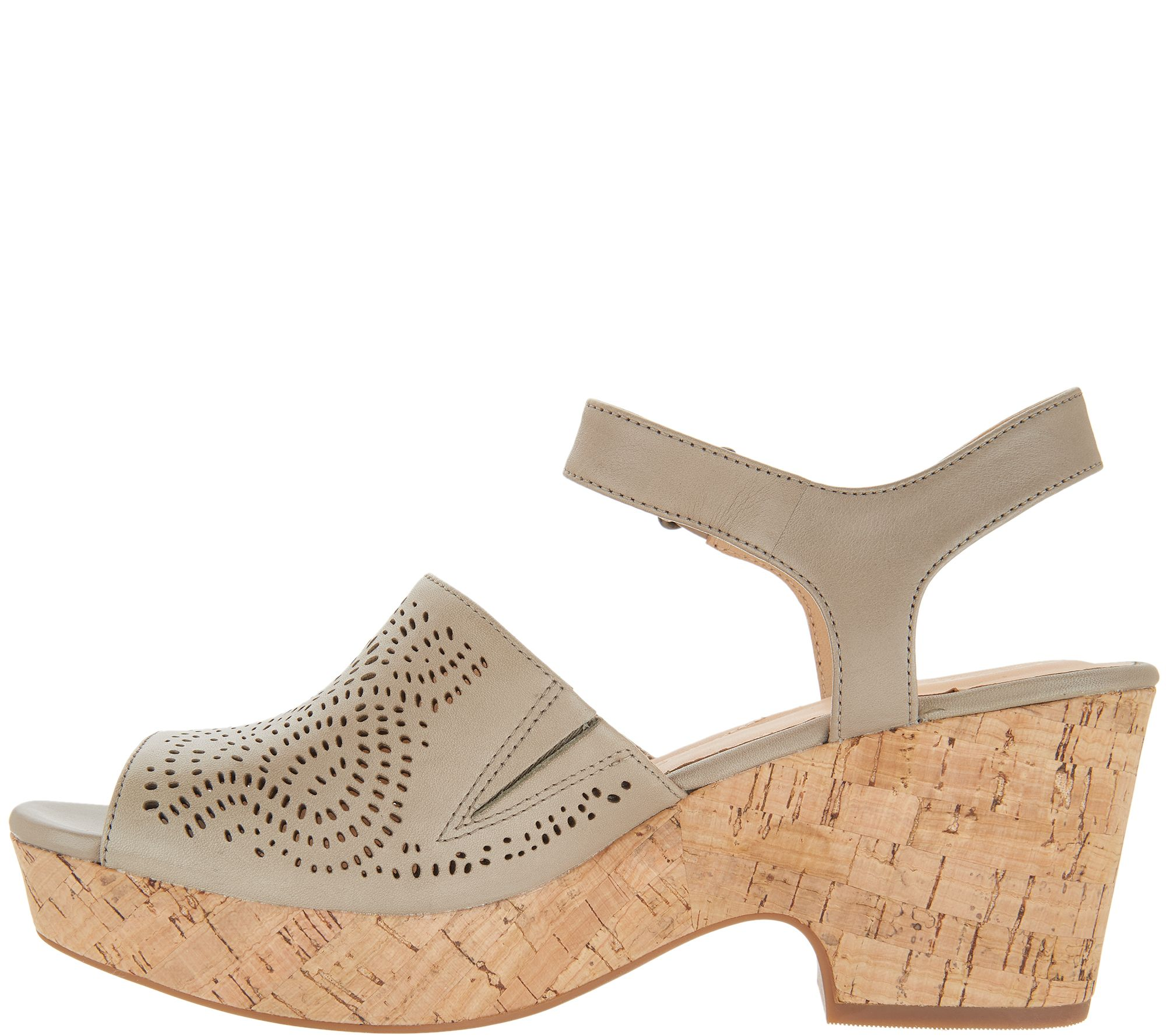 6ab748a02408 Clarks Artisan Perforated Leather Wedge Sandals - Maritsa Nila - Page 1 —  QVC.com