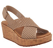 Clarks Perforated Nubuck Cork Wedge Sandals - Stasha Bridget - A304591