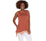 LOGO by Lori Goldstein Striped Knit Tank w/ Printed Tank Twin Set - A305491