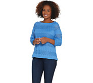 Susan Graver Jacquard Lace Raglan Sleeve Top - A306491
