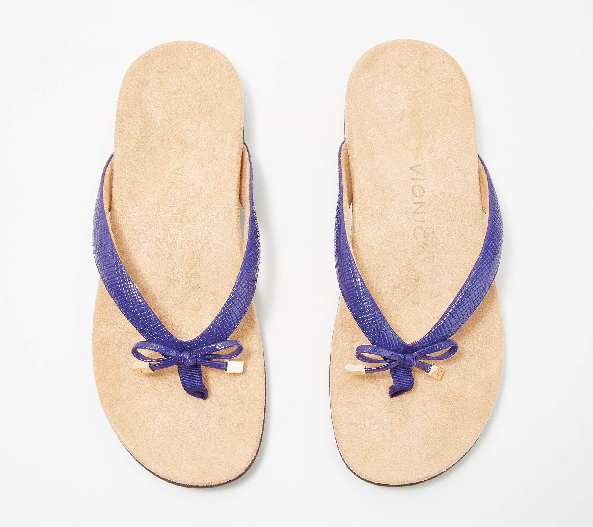 fe7c3a30736 Vionic Thong Sandals w/ Bow Detail - Bella II Lizard — QVC.com