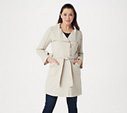 H by Halston Cascade Zip-Front Knee-Length Coat - A351191