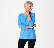 Denim & Co. Active French Terry 3/4-Sleeve Top w Rib Trim - A351591