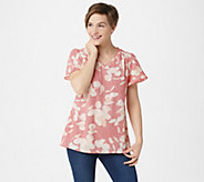 H by Halston Printed Crepe Shirting Flounce Sleeve Top w/ Keyhole - A352491