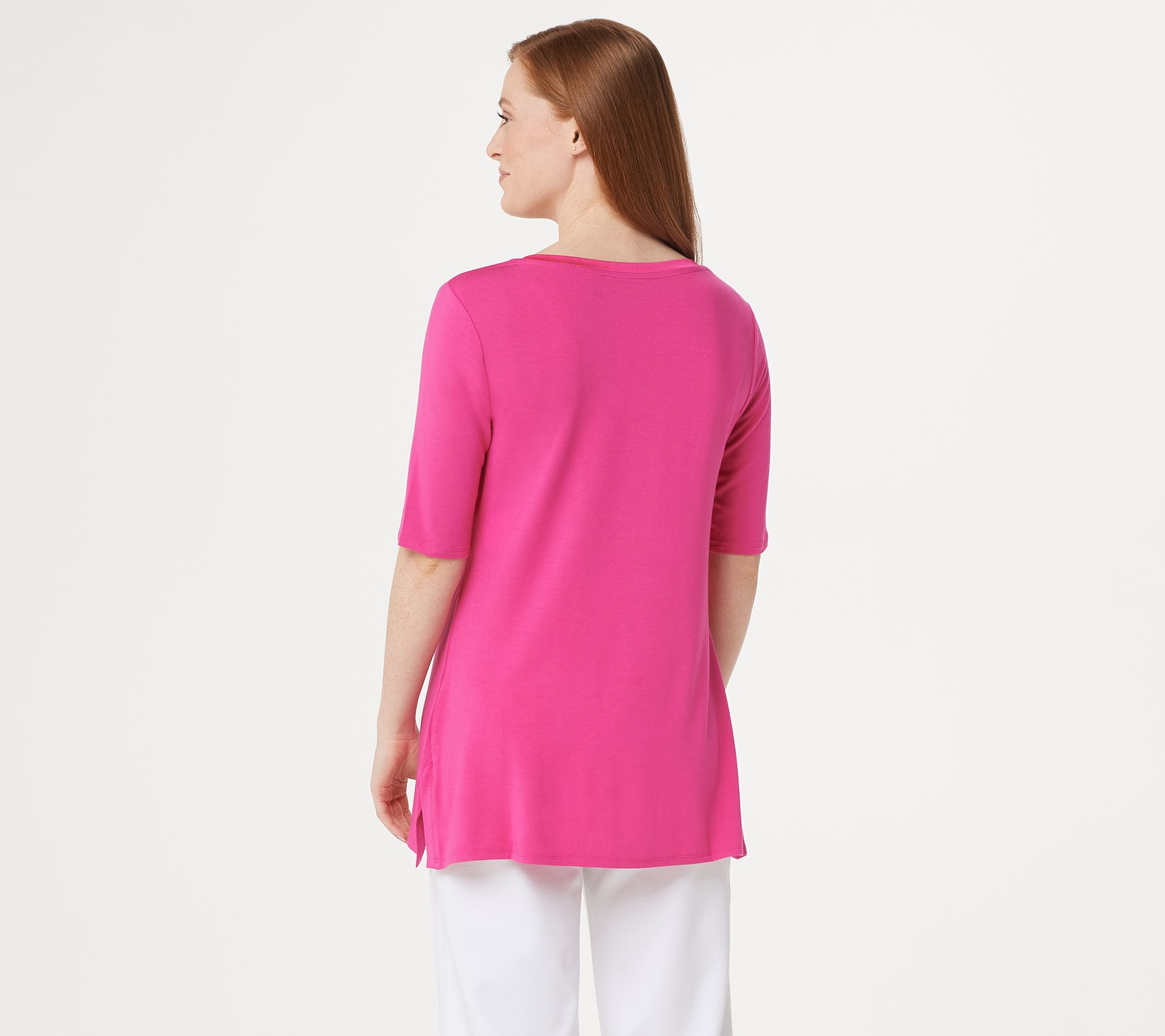 47eba8a5338 H by Halston Essentials Elbow-Sleeve V-Neck Tunic w/ Wide Side Slits - Page  1 — QVC.com