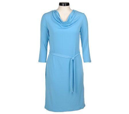 60b7a10f90a Nina Leonard Cowl Neck 3 4 Sleeve Matte Jersey Dress - Page 1 — QVC.com