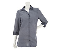 Liz Claiborne New York Button Front Chambray Tunic with Embroidery - A232492