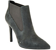 H by Halston Suede Pointed-toe High Heel Ankle Boots - Regina - A269892