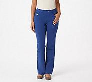 Quacker Factory DreamJeannes Short Pull-On 5 Pocket Boot Cut Pants - A272892