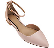 H by Halston Leather Flats with Adjustable Strap - Layla - A273892