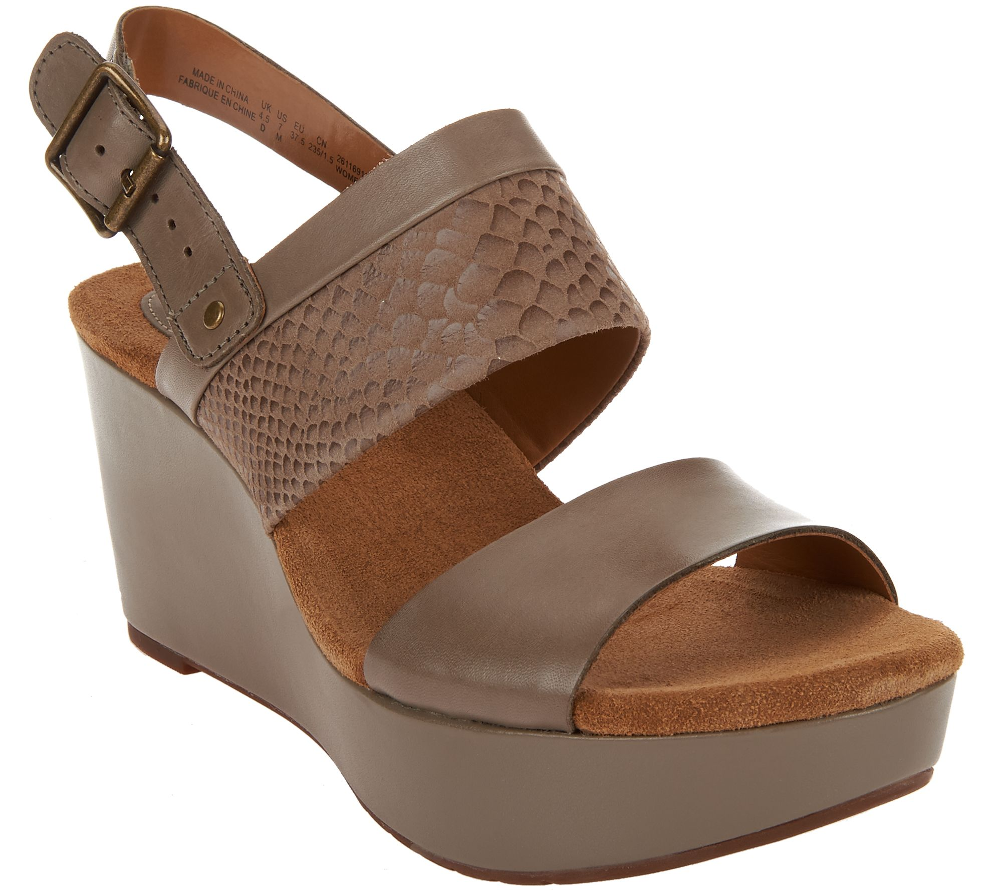 34c4f018d785 Clarks Artisan Leather Multi-strap Wedge Sandals - Caslynn Kat - Page 1 —  QVC.com