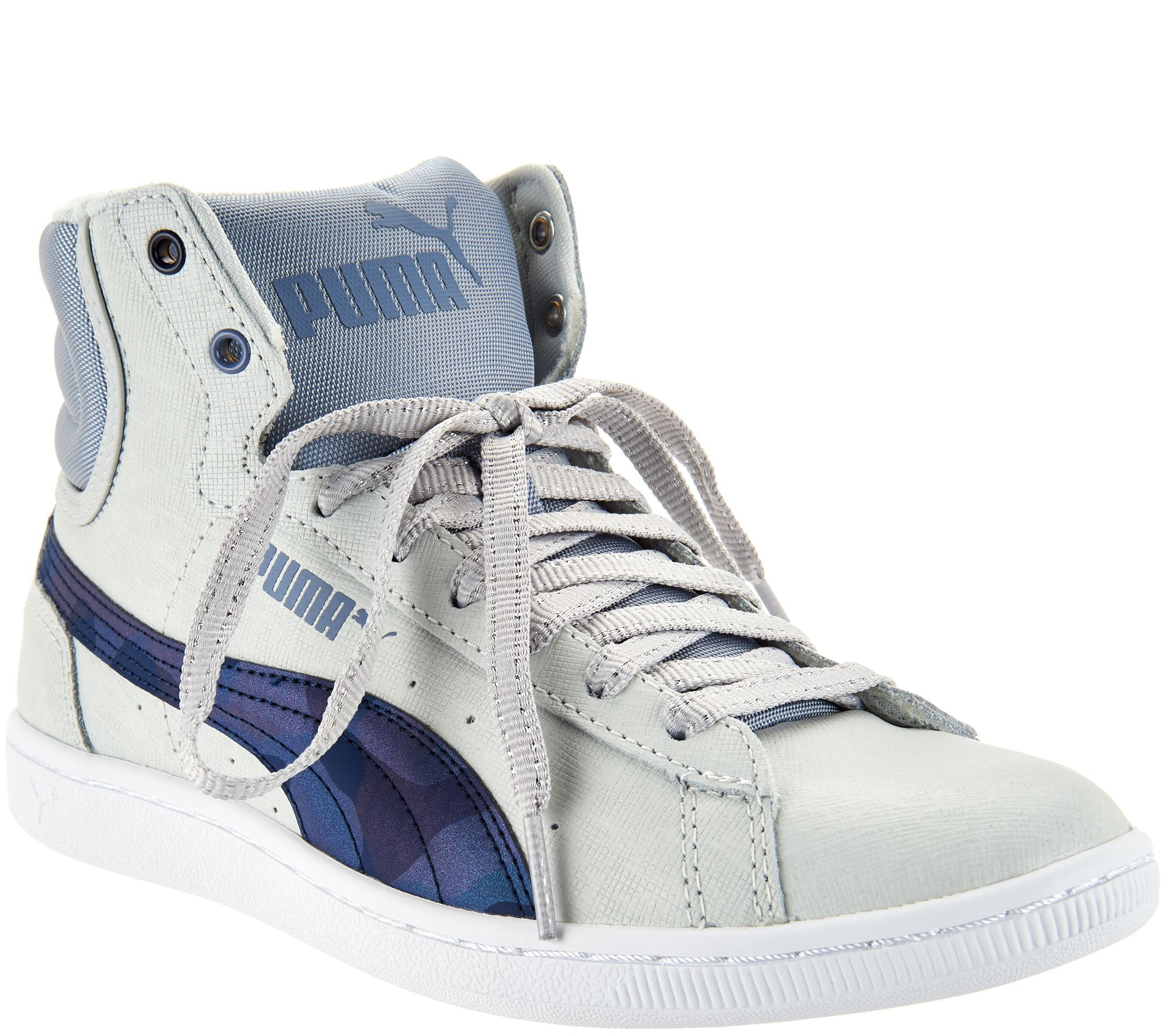 b967ba11c557 PUMA Leather Hightop Sneakers - Vikky Mid Scratch - Page 1 — QVC.com