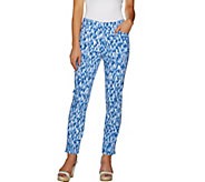 Susan Graver Printed Uptown Stretch Pull-On Ankle Pants - A290792