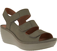 As Is Clarks Nubuck Triple Strap Wedge Sandals - Reedly Juno - A295992