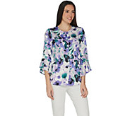 Studio by Denim & Co. Floral Button Front Bell Sleeve Top - A305192