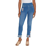 Belle by Kim Gravel Flexibelle Pull On Cuffed Ankle Jeans - A309992