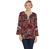 Susan Graver Artisan Printed Liquid Knit Bell Sleeve Top - A310092