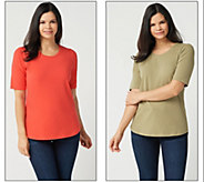 As Is Denim & Co. Essentials Set of Two Elbow Sleeve Knit Tops - A342392