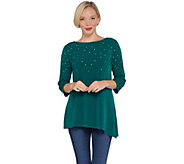 Quacker Factory 3/4-Sleeve Asymmetric Hem Knit Top with Rhinestones - A343892
