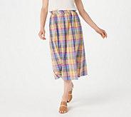 Joan Rivers Petite Madras Plaid Midi Skirt - A378592