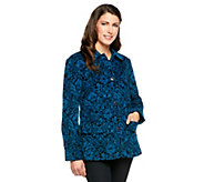 Denim & Co. Printed Corduroy Barn Jacket - A203993