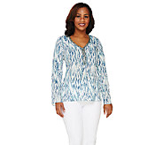Lisa Rinna Collection Printed Top with Neckline Embellishment - A262993