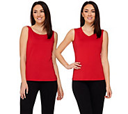 Susan Graver Essentials Butterknit Scoop & V-neck Set of 2 Tanks - A272393